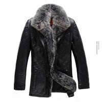 Free shipping ! ! ! Brand men's warm winter jackets , luxurious fox fur collar , Top Sheep Skin Leather Leather ,men's fur coat