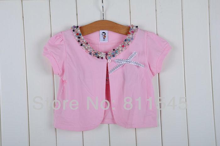 Retail Girl's Fashion Pink Beautiful Beaded Neckline Girls Cardigans Baby Waistcoat Kids Jackets Children Wear, Free Shipping!(China (Mainland))