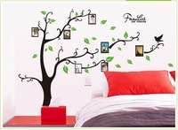 Wholesales Pictures frame Wall stickers decor for the bedroom Black Brown tree wallpaper Photo frame Tree wall decal Freeshiping