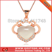 DZ1047 Romantic Heart White Crystal Rose Gold Plated Necklace Pendant , S925 Sterling Silver Platinum Plated Rhinestone