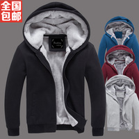 2013 autumn and winter plus size men's clothing outerwear plus velvet thickening sweatshirt male cardigan trend slim hoody