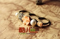 Free shipping!   Fashion restore ancient ways wings Pearl flower three ring ring