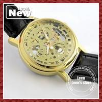 DHL EMS Free 2013 Fashion Vintage Skeleton Lady Women Wristwatches Leather Band Top Brand Best Gift  Wholesale 10pcs/lot