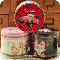 Gift big round tin canducum Large storage box gift box cookie jar circle decoration box can batch