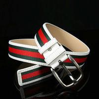 Free shipping 1PCS Fashion White Green Red Stripe Canvas Pin Buckle Belt Waistband #23641