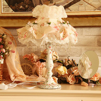 Rustic lace fabric table lamp bedroom bedside lamp the wedding lamp fashion curtain