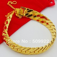 WjH004 2013 Men's Fashion Yellow Gold Jewelry  24K Gold Plated Vacuum Plating Bracelet Bangle Hot Sell Gold Bracelet For Men