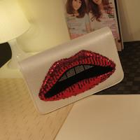 2014 fashion paillette bags chain handbag women's red lips day clutch one shoulder cross-body women's handbag