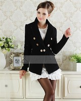 Long Sleeve Wool Solid Cardigan Double Breasted Slim Women Blazer