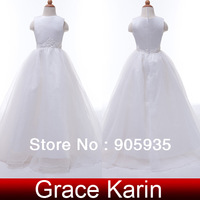 Free Shipping! 1pc/lot Grace Karin White Sleeveless Little Flower Girl Princess Wedding Pageant Evening Party Dress CL4491