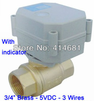 T20-B2-C DC5V Motorized Ball Valve with indicator 3 control wires NPT/BSP 3/4''1.0Mpa for HVAC water heating air conditional