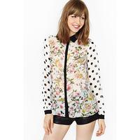 Haoduoyi polka dot flower long-sleeve chiffon patchwork black turn-down collar female shirt