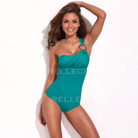 Karenjune fashion swimwear fashion one shoulder one piece swimwear green 033132021