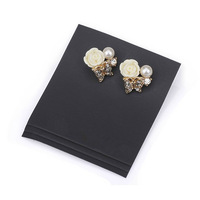 Minimum Order $20 (mixed order) fashion accessories all-match resin flower type full rhinestone butterfly pearl stud earrings