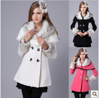 819 2012 fur collar slim waist expansion bottom sparkling diamond cape wool coat paragraph 2color white /black