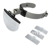 Helmet Head Magnifying Glass Loupe with LED Light  and three different multiples of the lens1.5x /2.5x / 3.5x