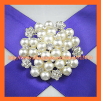 Free Shipping ! 100pcs/lot 45mm Pearl Cluster ,Bonquet PIN,Wedding Brial Pearl Broche ,Invitation/Box PIN.Rhinestone Brooch pin