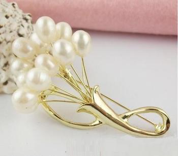 YSXZ028 OL fashion Flower Genuine pearl brooch 2013 bouquet breastpin fashion pearl jewelry wholesale free shipping