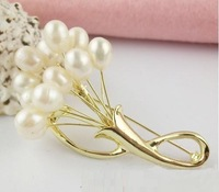 YSXZ028 OL fashion Flower Genuine pearl brooch 2013 bouquet breastpin fashion pearl jewelry wholesale free shipping