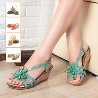 Magicaf 2013 women's shoes sweet flower high-heeled shoes genuine leather women's wedges sandals 3rm13