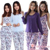 Medium-large autumn and winter Women three piece set sleepwear sexy cotton long-sleeve 100% women's lounge set