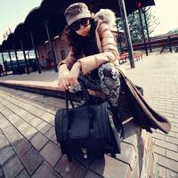 Fashion 2013 new  fashion strap decoration bag motorcycle bag lockbutton portable women's vintage briefcase handbag