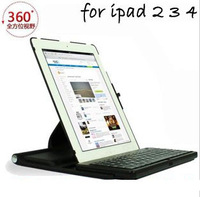 360-degree rotating  wireless Bluetooth keyboard  protective sleeve for IPAD2/3/4,Free shipping