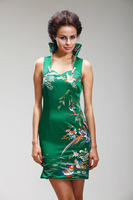 Handmade embroidery cheongsam high quality silk