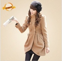 Winter women's 2013 fashion slim stand collar puff sleeve overcoat female woolen outerwear 6028