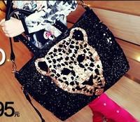 Leopard head women's 2013 new paillette handbag motorcycle punk leopard print one shoulder handbag messenger bag