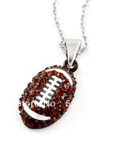 Free Shipping Sporty Enamel Crystal Football Sports pendant necklaces 2014 for men and women 5pcs a lot