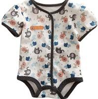 High quality 6M-24M 5pcs Short Sleeve baby Bodysuits,cartoon lion newborn Romper baby jumpsuit, free shipping , #9202