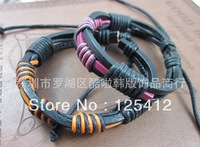 10pcs/lot Fashion Jewelry Wrap trend cowhide knitted Rope genuine Leather Braid surf cuff bracelet Unisex