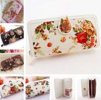 Floral Vintage Wallet Women's Fabric PU Leather Purse 2014 Fashion Designer Ladies New Zipper Hasp Clutch Wallet  Brand Style