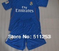 Thai Quality 13 -14 Real Madrid away blue soccer jerseys Kits with Embroidery LFP patch football uniforms custom name and number