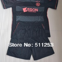 High Quality 13 -14ajax away black soccer jerseys Kits with Embroidery LFP patch soccer uniforms10pcs/lot