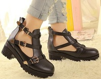 Free shipping 2013 chunky high heels fashion ladies casual punk boot for women platform shoes woman pumps belt buckle SXX35654