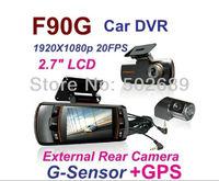 100% Original Factory Price F90G H.264 Full HD 1920x1080P  Dual Lens Car  DVR /Car Black Box with GPS/Rear Camera Free shipping