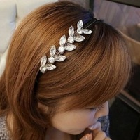 18111 bling fashion crystal small flower leaves hair bands with fashion headband