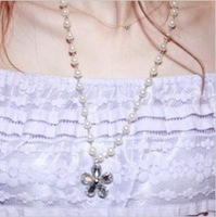 Fairy 14315 sweet all-match fashion flower pearl necklace accessories female colnmnaris chain