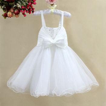 Toddler girl party dress  solid white  bow  children clothing formal dress diamond Ruffles clothing  girl sling dress wholesale