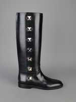 free hongkong post~40/41 GENUINE LEATHER STUDDED KNEE HIGH BOOTS F426