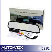 Free shipping 4.3'' Car Monitor Car Color TFT LCD Mirror Monitor 16:9 screen Car Rearview Mirror Monitor for car