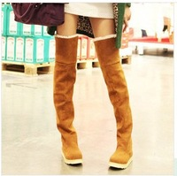 Women's 8 colors Suede Flat Boots Winter Thigh High Boots