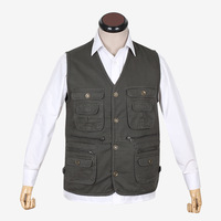 Cotton vest quinquagenarian men's clothing vest male outdoor casual multi-pocket cotton vest fishing vest
