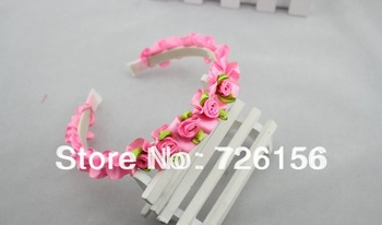Free Shipping (100pcs/lot) Mini Satin Rose Flower With Plastic Covered Headband Hair Accessories For Toddlers Children