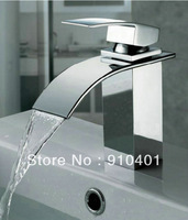 Wholesale And Retail Promotion Chrome Finish Brass Deck Mounted Waterfall Bathroom Basin Faucet Sink Mixer Tap