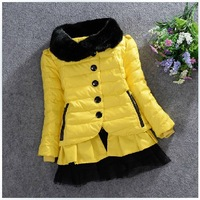 2013 New Arrival Children Winter Clothing Kids Girls Down Coat Fur Collar PU Leather Waterproof Jacket with Net veil pendulum