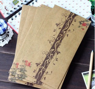 Wholesale Retro Style Beautiful Romantic Floral Design Kraft Envelope,storage bag,Pouch 50pcs/lot Free shipping