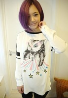 Paillette small owl patchwork shirt style sweatshirt